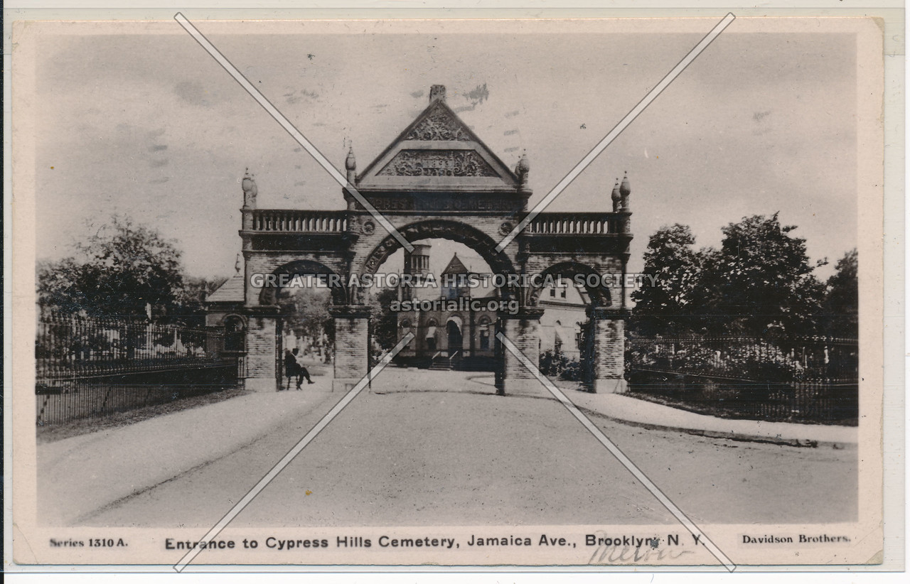 Entrance to Cypress Hills Cemetery, Jamaica Ave., BK.