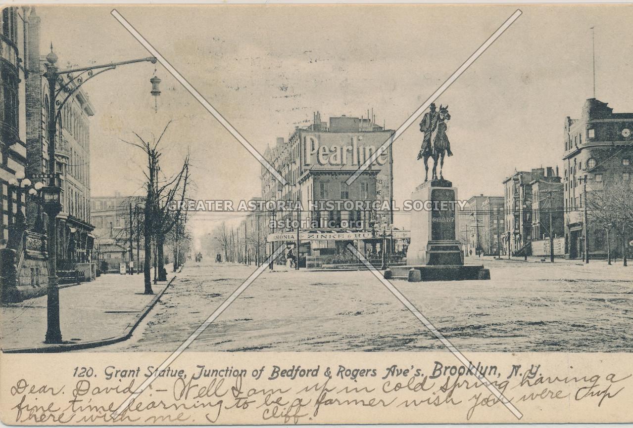 Grant Statue, Junction of Bedford & Rogers Ave's. Brooklyn, N.Y.