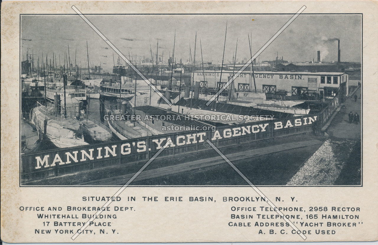 Manning's. Yacht Agency Basin, Situated In The Erie Basin, Brooklyn, N.Y.