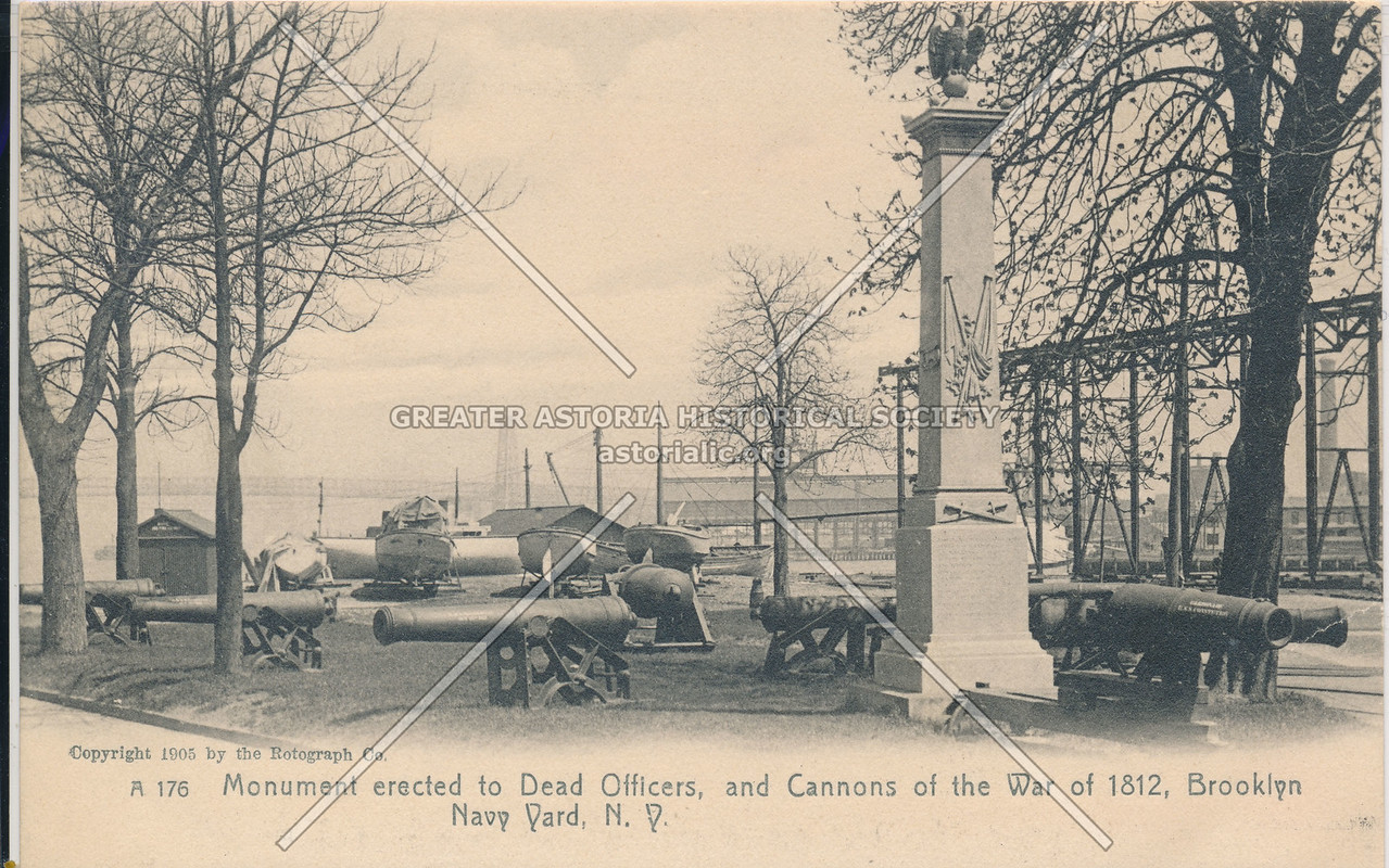 Monument erected to Dead Officers, and Cannons of the War of 1812, Brooklyn Navy Yard, N.Y.