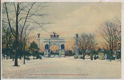 Winter Scene at Main Entrance to Prospect Park, Bklyn