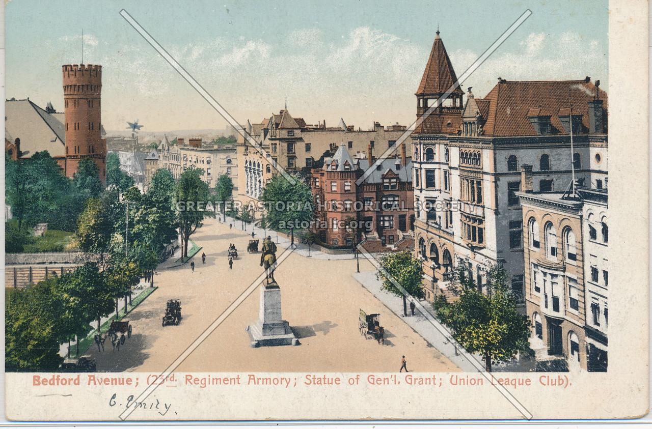 Bedford Avenue; (23rd Regiment Armory; Statue of Gen'l. Grant; Union League Club)