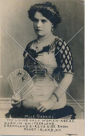 Mlle. Gabriel -- The Living Half Woman, Dreamland Circus Side Show, Coney Island, N.Y.