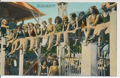 Lining up at Coney Island, N.Y.