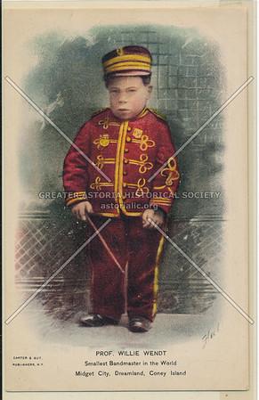 Prof. Willie Wendt, Smallest Bandmaster in the World, Midget City, Dreamland, Coney Island, N.Y.