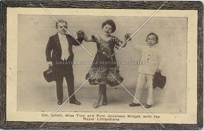 Col. Small, Miss Tiny and Pani Javanese midget with the Royal Lilliputians