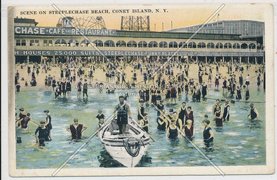Scene on Steeplechase Beach, Coney Island, N.Y.