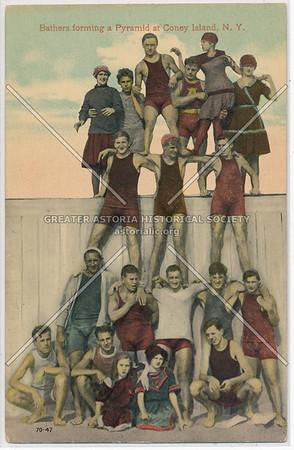 Bathers forming a Pyramid at Coney Island, N.Y.