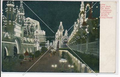 Luna Park, The Main Promenade, Centrifugal Swing in Motion, Coney Island
