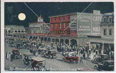 Surf Avenue Near Feltmans' At Night, Coney Island, N.Y.