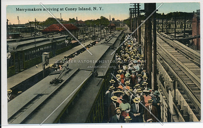 Merrymakers arriving at Coney Island, N.Y.