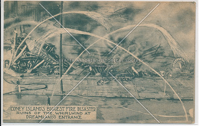 Coney Island's Biggest Fire Disaster, Ruins Of The Whirlwind At Dreamland's Entrance