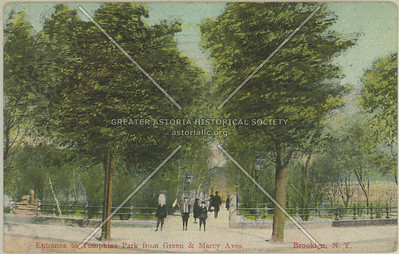 Entrance to Tompkins Park from Green & Marcy Aves., Brooklyn, N.Y.