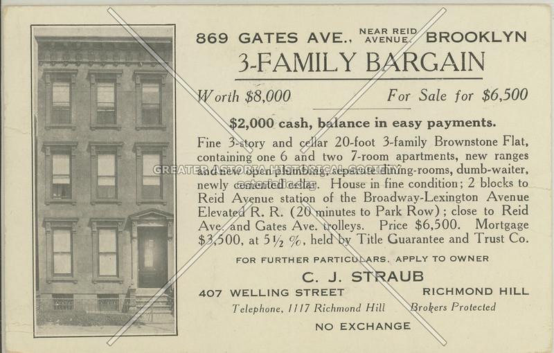 869 Gates Ave., Near Reid Avenue, Brooklyn