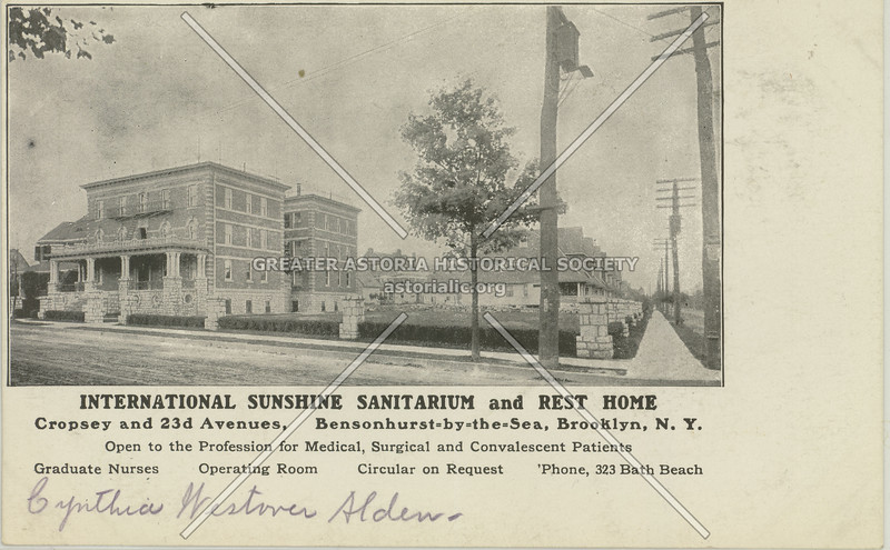 International Sunshine Sanitarium and Rest House, Cropsey and 23rd Avenues, Bensonhurst-by-the-Sea, Brooklyn, N.Y.