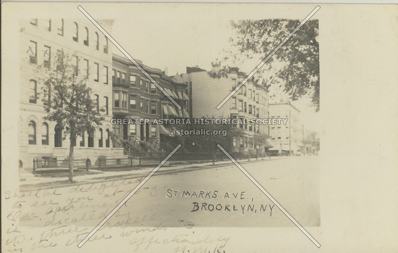 St. Marks Ave. Looking E towards Albany Ave, Bklyn, N.Y.