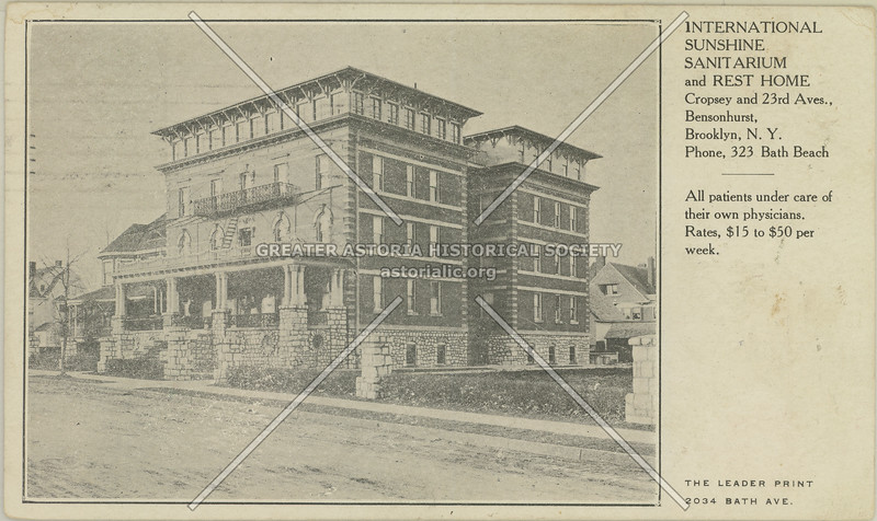 International Sunshine Sanitarium and Rest Home, Cropsey and 23rd Avenues