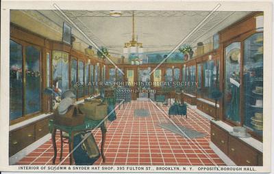 Interior Of Schumm & Snyder Hat Shop, 395 Fulton St., Brooklyn, N.Y., Opposite Borough Hall