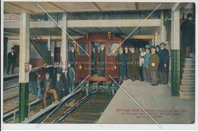 Borough Hall Station, Picture of first train run through tube which is 90 feet under bed of East River