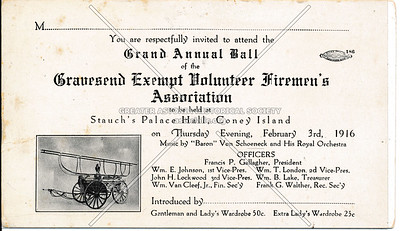Gravesend Exempt Volunteer Firemen's association, Thursday, February 3rd, 1916.