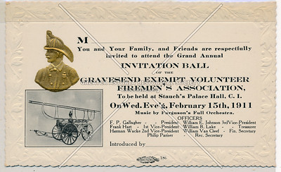 Gravesend Exempt Volunteer Firemen's Association, February 15th, 1911.