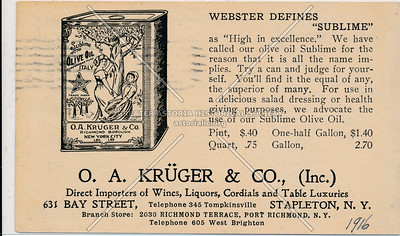 O. A. Krüger & Co., Direct Importers of Wines, Liquors, Cordials and Table Luxuries - 631 Bay Street