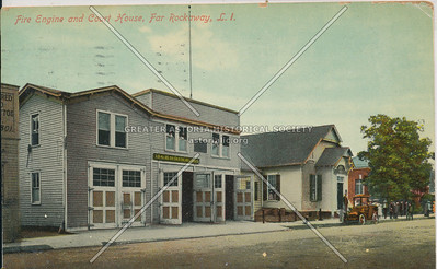 Fire Engine and Court House, Far Rockaway, L.I.