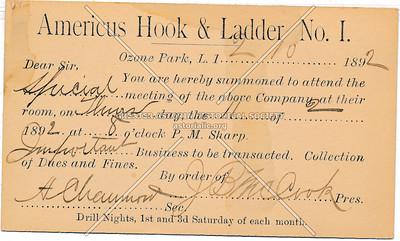 Americus Hook & Ladder, No. 1, Ozone Park, L.I.
