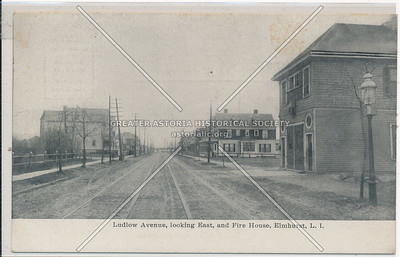 Ludlow Avenue (43 Ave), looking East, and Fire House, Elmhurst, L.I.