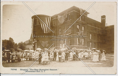 Singing Star-Spangled Banner, Richmond Hill, L.I.
