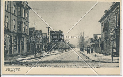 Winter Scene, Briggs Ave (117 St) & School, L.I.