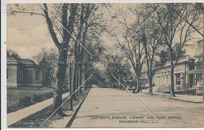 Lefferts Ave, Library & Post Office, Richmond Hill,  L.I.