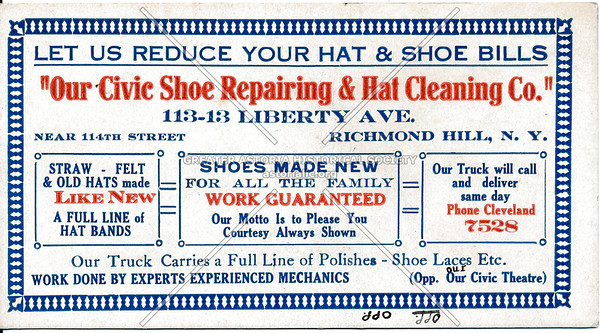 Civic Shoe Repairing & Hat Cleaning Co., 113-13 Liberty Ave, Richmond Hill, L.I.