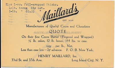 Henry Maillard, INC, 33rd St & 37th Ave., LIC.