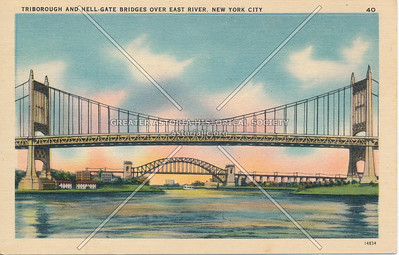 Triborough & Hell Gate Bridges over East River, NYC.
