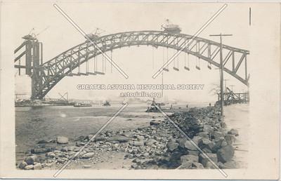 Hell Gate Bridge under construction, L.I.