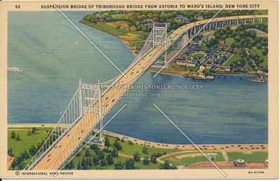 Suspension Bridge of Triborough Bridge from Astoria to Ward's Island, NYC.