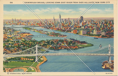 Triborough Bridge, looking down East River from over Hell Gate, NYC.