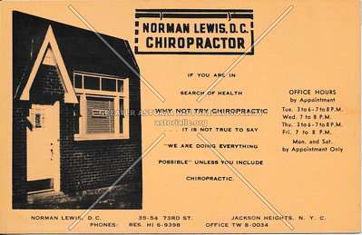 Norman, D.C. Chiropractor, 35-54 73rd St., Jackson Heights, L.I.