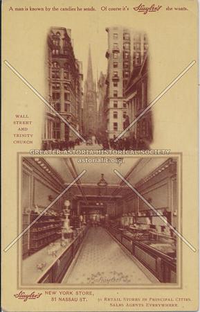 Huyler's New York Store, 81 Nassau St, Wall St & Trinity Church, N.Y.
