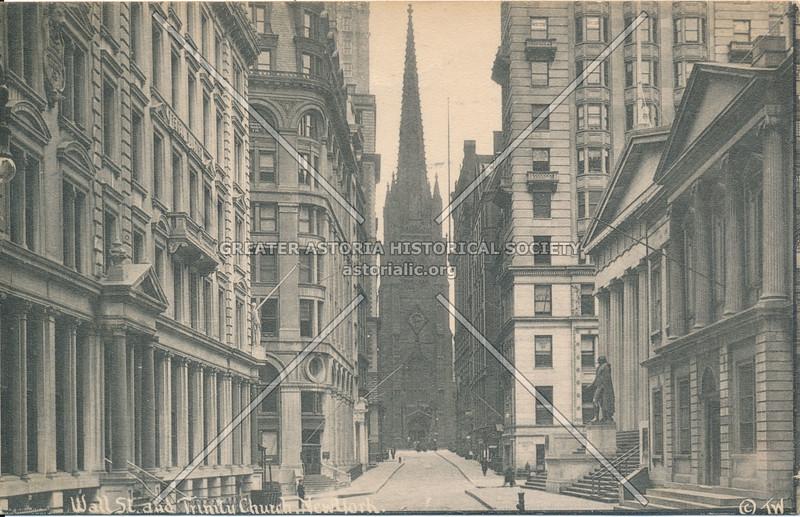 Wall St. & Trinity Church, N.Y.