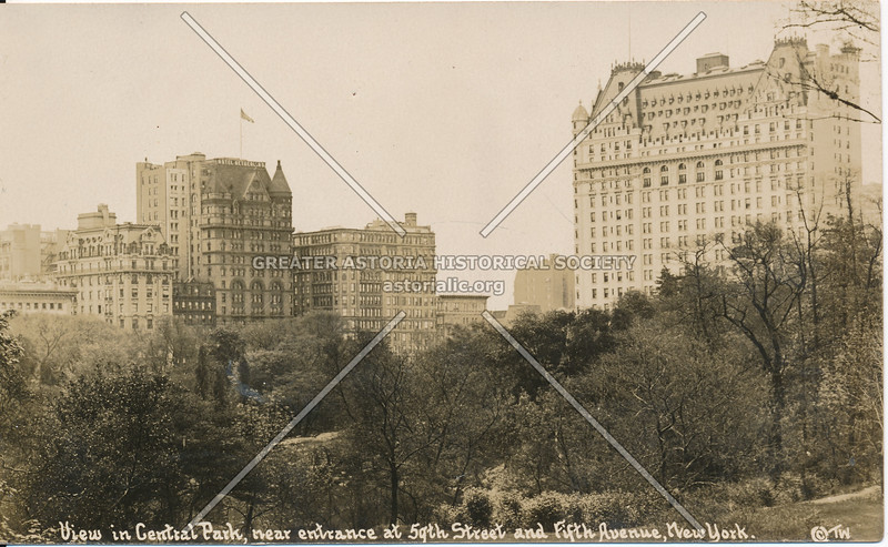 View in Central Park, near entrance at 59th St & Fifth Ave, N.Y.