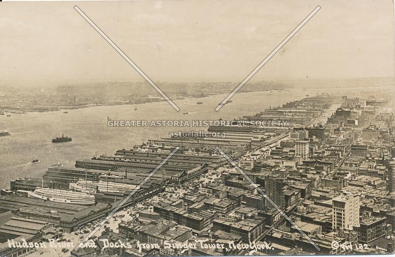 Hudson River & Docks from Singer Tower, N.Y.
