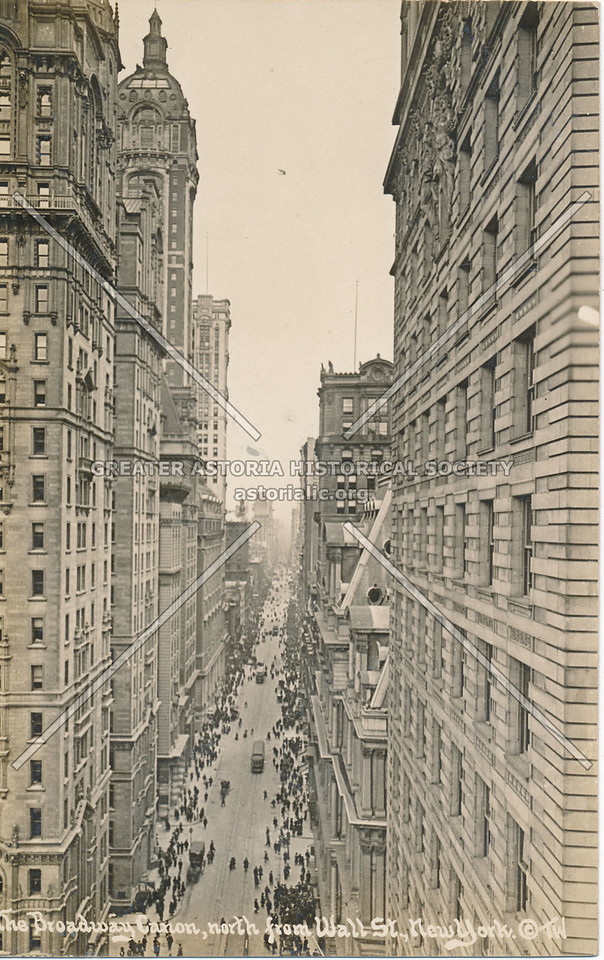 The Broadway Canon, North from Wall St., N.Y.