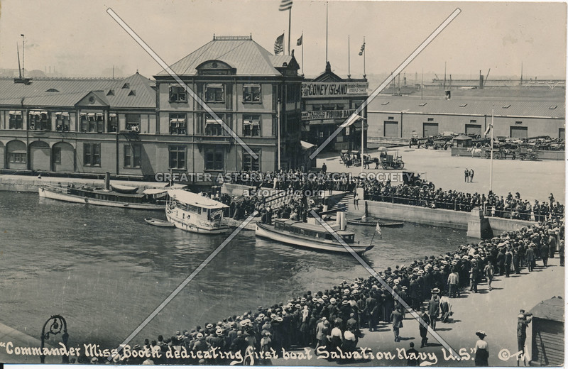 Commander Miss Booth dedicating first boat, Salvation Navy, U.S.