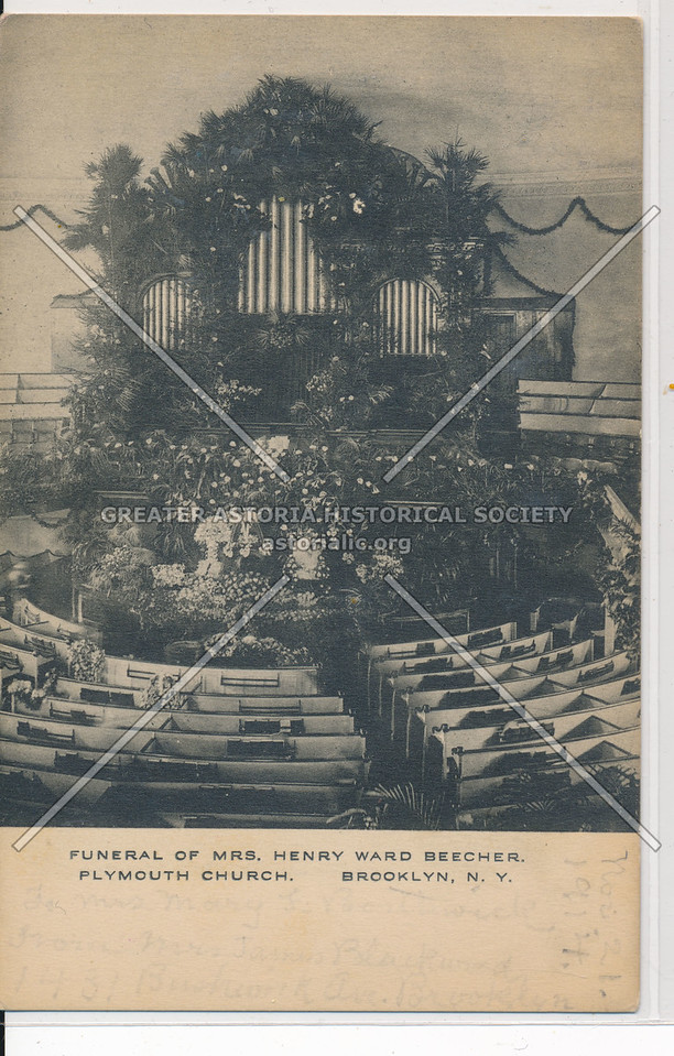 Funeral of Mrs. Henry Ward Beecher, Plymouth Church, Bklyn