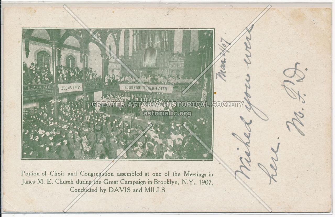 Janes M.E. Church, Choir and Congregation Assembly, Bklyn