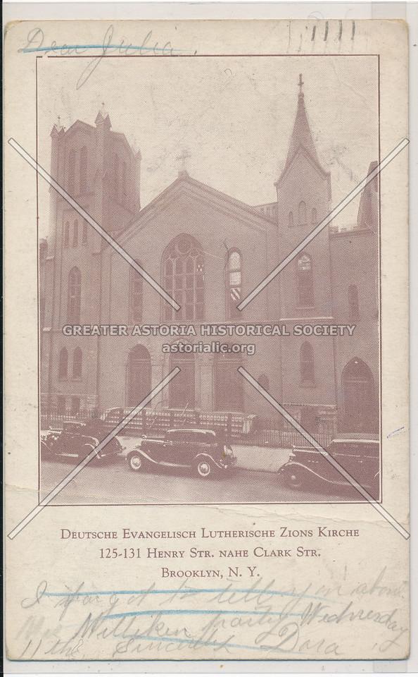 Deutsche Evangelisch Lutherische Zions Kirche, 125-131 Henry St., Nahe Clark St., Bklyn