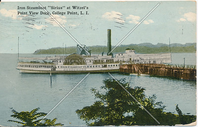 "Iron Steamboat ""Sirius"" at Witzel's Point View Dock, College Point, LI"