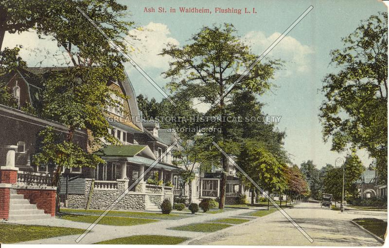 Ash St (Ash Ave). in Waldheim, Flushing, L.I.